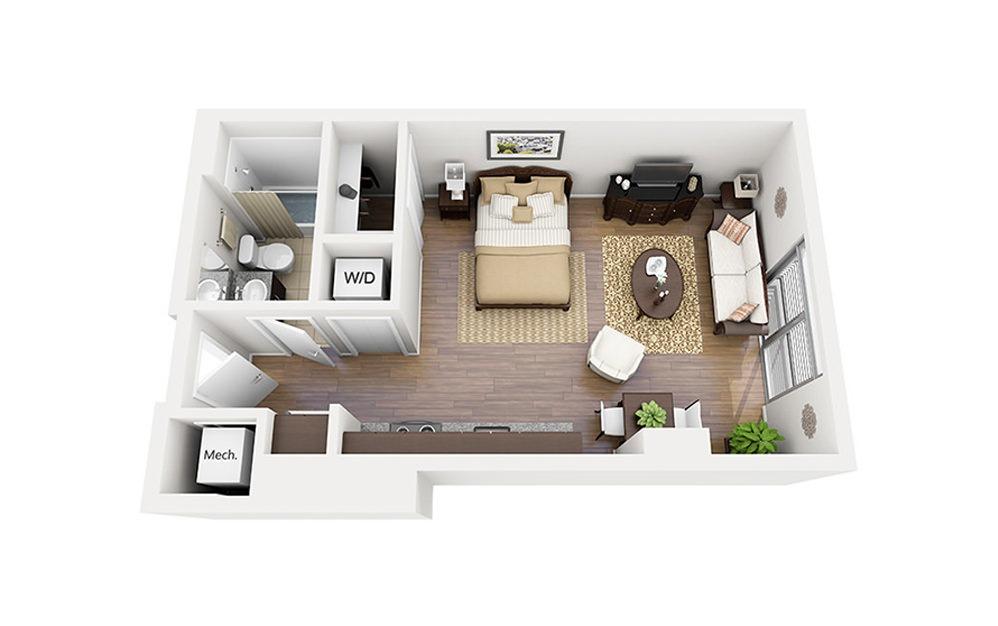 E01 - Studio floorplan layout with 1 bath and 475 square feet.