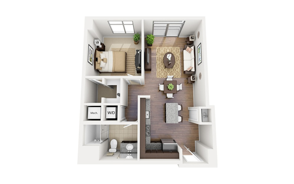 A03 - 1 bedroom floorplan layout with 1 bath and 711 square feet.