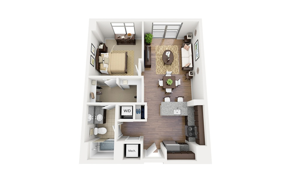 A04 - 1 bedroom floorplan layout with 1 bath and 715 square feet.