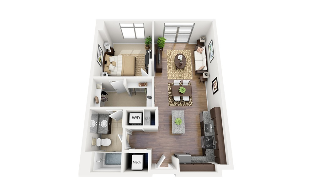 A05 - 1 bedroom floorplan layout with 1 bath and 717 square feet.