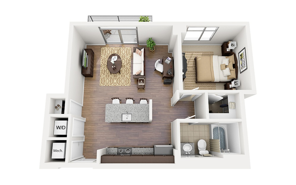A06 - 1 bedroom floorplan layout with 1 bath and 684 square feet.