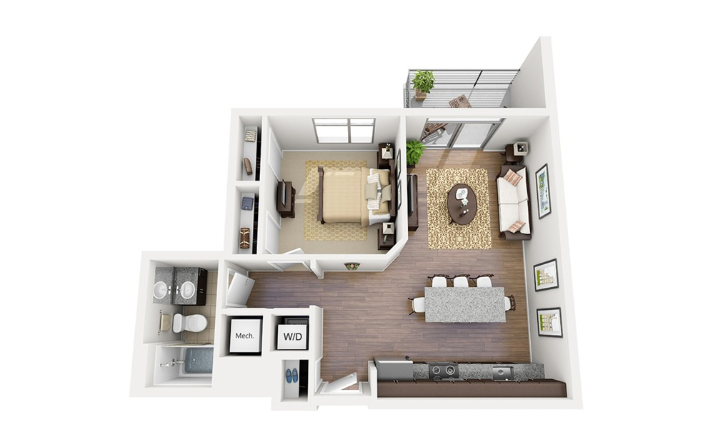 A07 - 1 bedroom floorplan layout with 1 bath and 682 square feet.