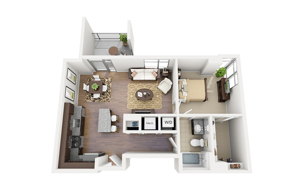 A08 - 1 bedroom floorplan layout with 1 bath and 756 square feet.