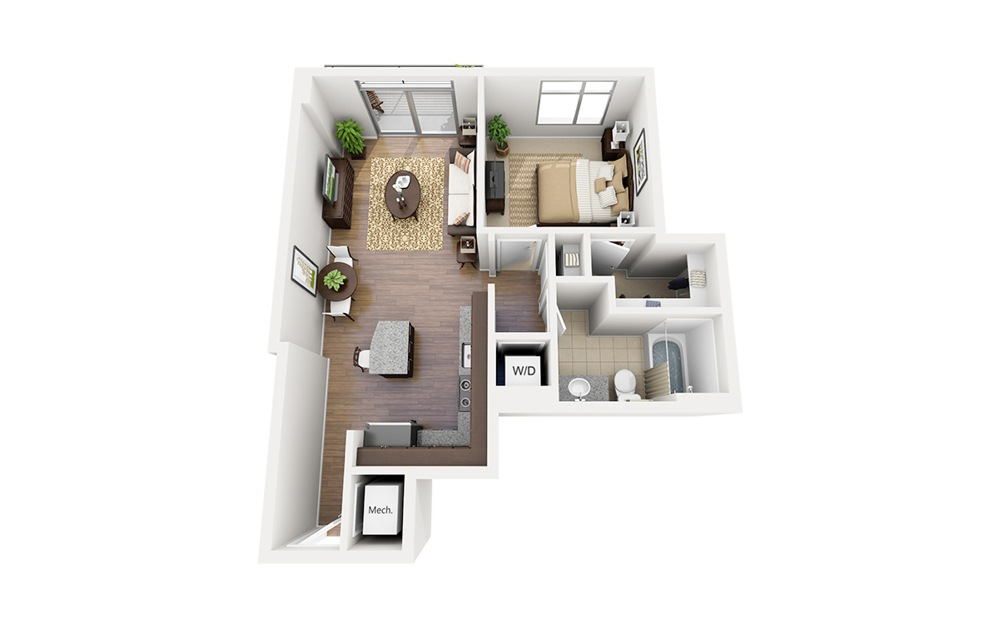A09 - 1 bedroom floorplan layout with 1 bath and 678 square feet.