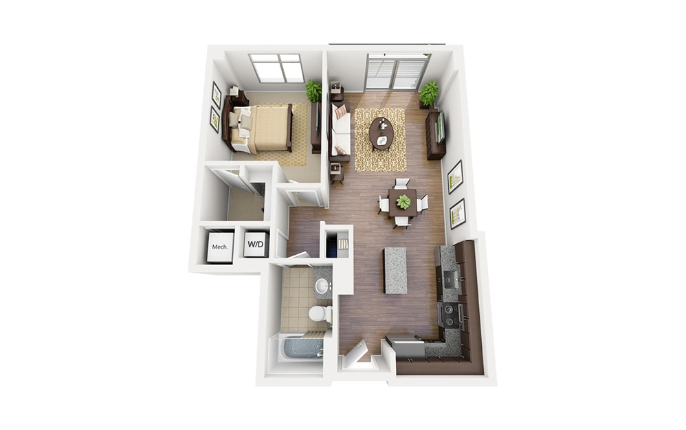 A10 - 1 bedroom floorplan layout with 1 bath and 743 square feet.