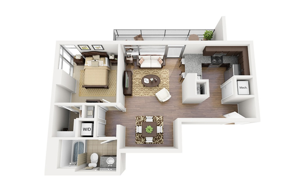 A11 - 1 bedroom floorplan layout with 1 bath and 740 square feet.