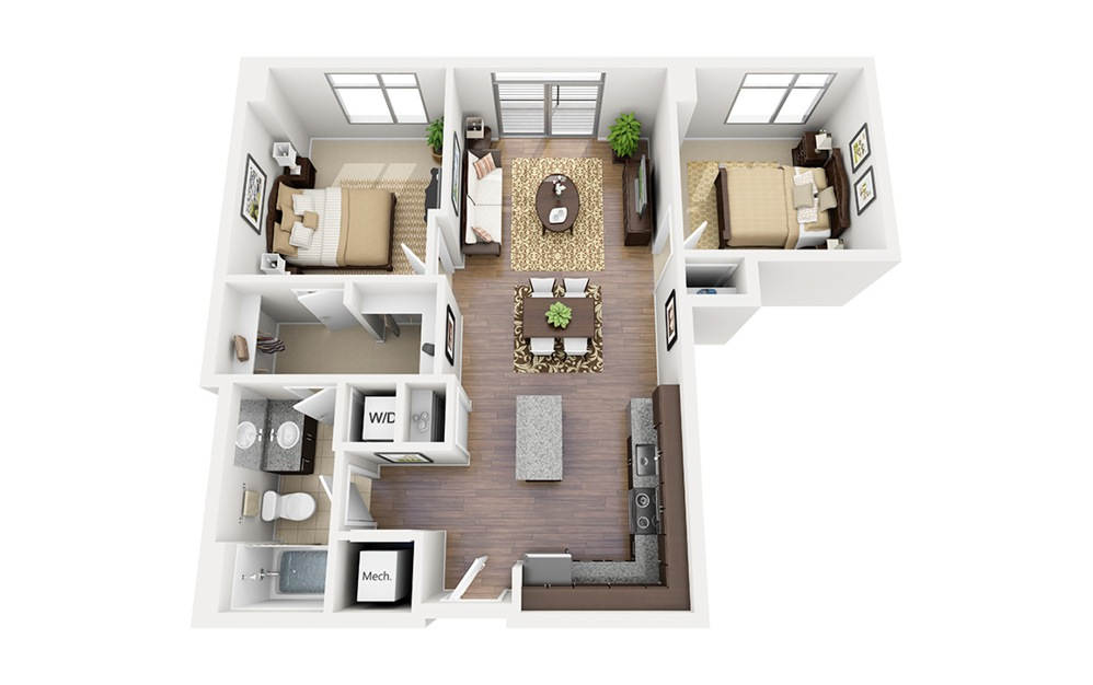 B01 - 2 bedroom floorplan layout with 1 bath and 849 square feet.