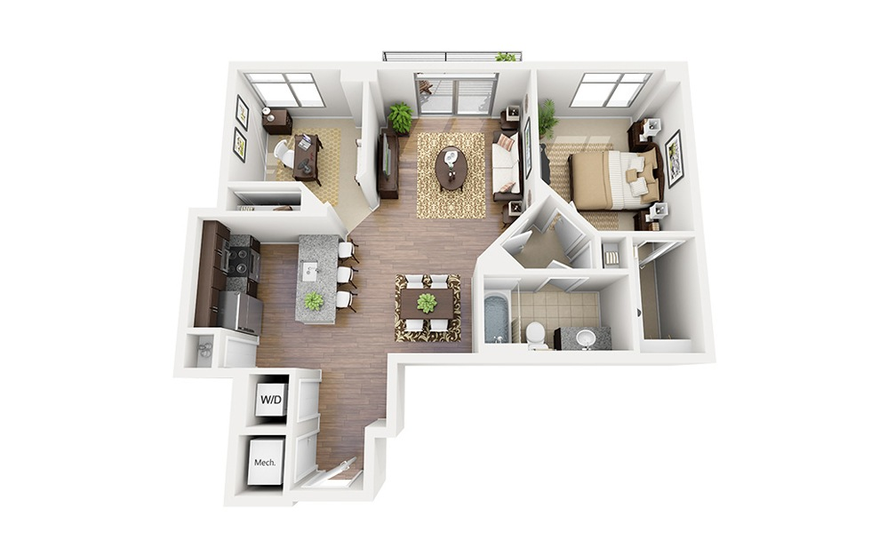 B02 - 1 bedroom floorplan layout with 1 bath and 879 square feet.