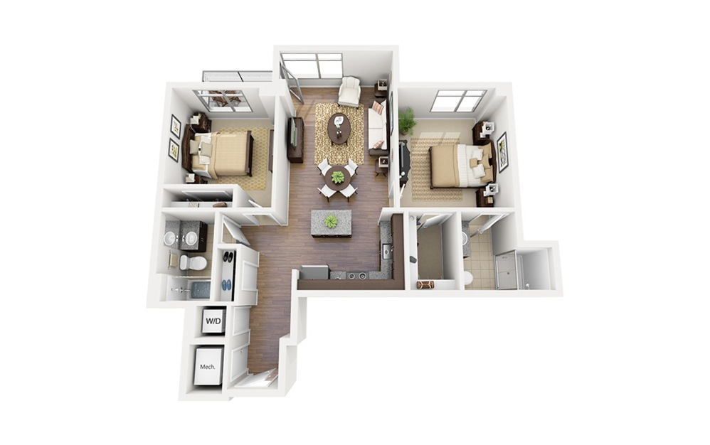 C03 - 2 bedroom floorplan layout with 2 baths and 971 square feet.