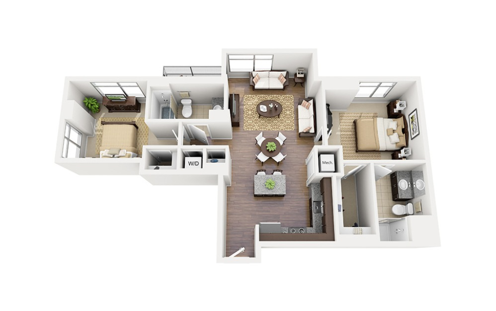 C04 - 2 bedroom floorplan layout with 2 baths and 996 square feet.