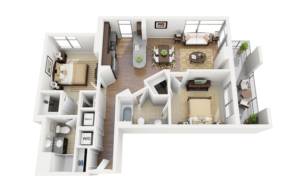 C05 - 2 bedroom floorplan layout with 2 baths and 1008 square feet.