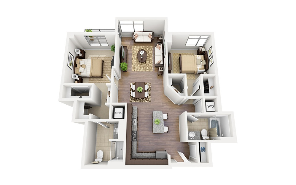 C07 - 2 bedroom floorplan layout with 2 baths and 1135 square feet.