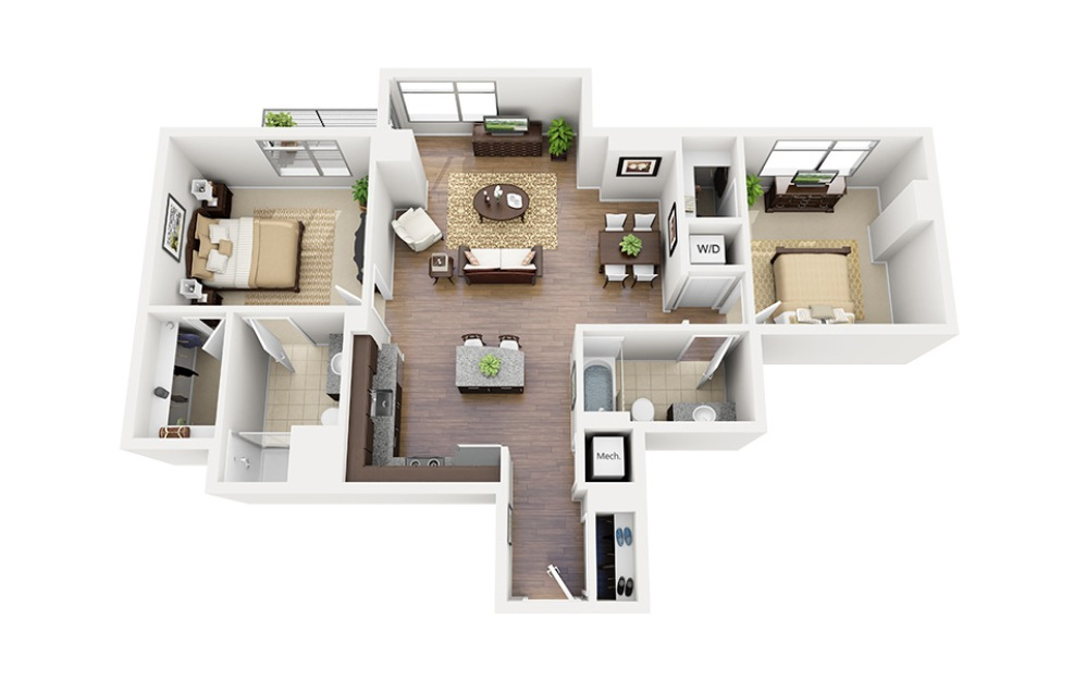 C08 - 2 bedroom floorplan layout with 2 baths and 1118 square feet.