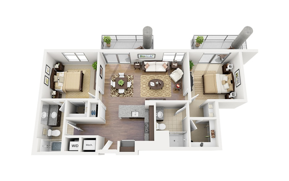 C09 - 2 bedroom floorplan layout with 2 baths and 976 square feet.