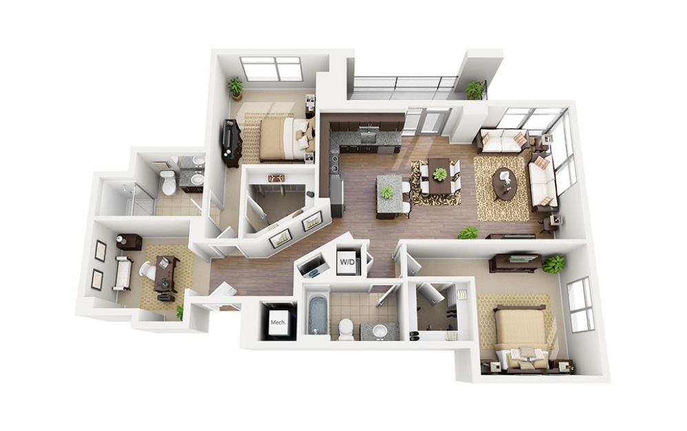 D01 - 2 bedroom floorplan layout with 2 baths and 1295 square feet.