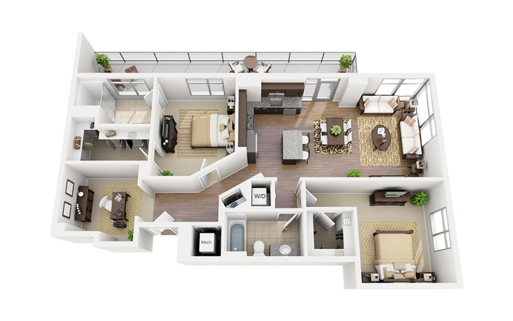 D02 - 2 bedroom floorplan layout with 2 baths and 1272 square feet.