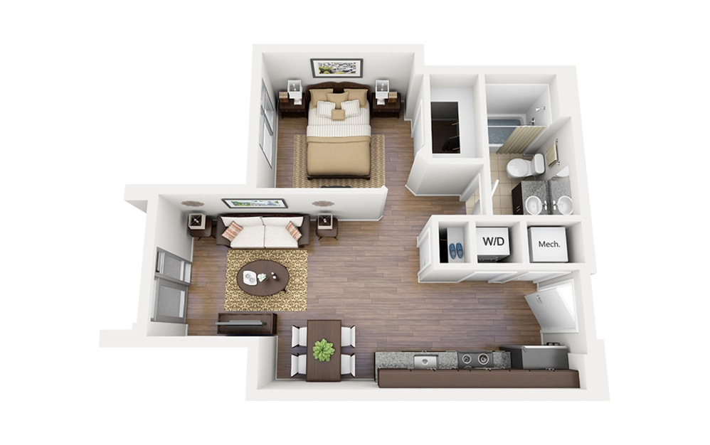 E03 - Studio floorplan layout with 1 bath and 540 square feet.