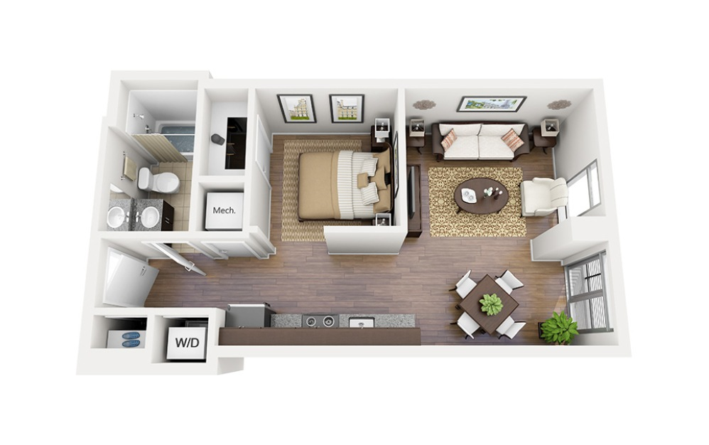 E02 - Studio floorplan layout with 1 bath and 557 square feet.