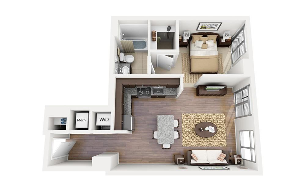 E04 - Studio floorplan layout with 1 bath and 620 square feet.